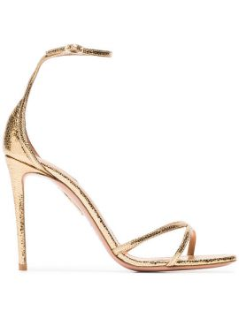 Gold Purist 105 Metallic Leather Sandals - Aquazzura