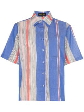 Tarouba Stripe Print Cotton Silk-blend Shirt - A Peace Treat