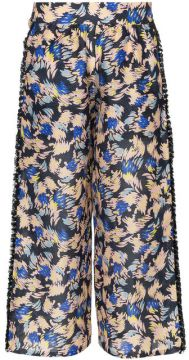 Yuna Print Silk Linen-blend Cropped Trousers - A Peace Treat