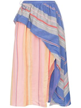 Tarouba Stripe High Waist Silk Cotton-blend Skirt - A Peace