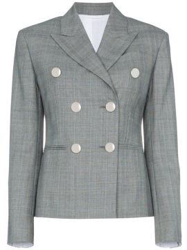 Grey Double Breasted Check Blazer - Calvin Klein 205w39nyc
