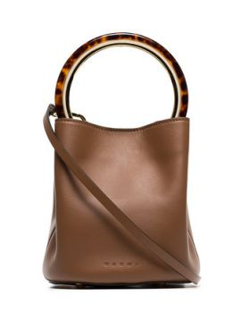 Brown Pannier Resin Handle Leather Bucket Bag - Marni