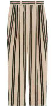 Roll-up Cuff Striped Corduroy Trousers - Burberry