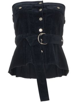 Navy Blue Button Front Corset - Sjyp