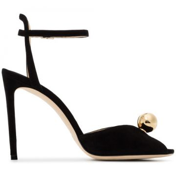Black Sacora 100 Faux Pearl Suede Sandals - Jimmy Choo