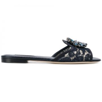 Crystal-embellished Lace Sandals - Dolce & Gabbana