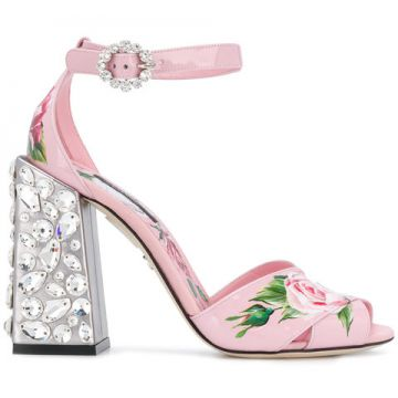 Embroidered Heel Printed Sandals - Dolce & Gabbana
