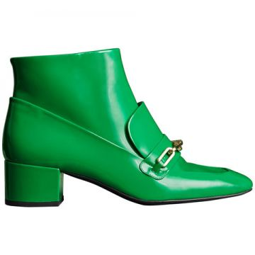 Link Detail Patent Leather Ankle Boots - Burberry