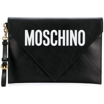 Leather Envelope Clutch - Moschino