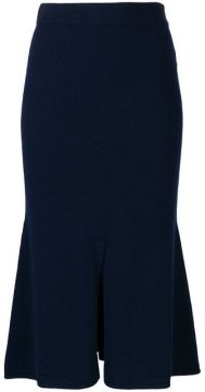 Cashmere Blend Slit Front Skirt - Cashmere In Love