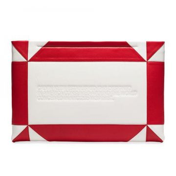 White And Red Logo Embossed Geometric Leather Clutch - Calvi
