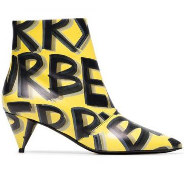 Yellow And Black Lf Wilsbeck Graffiti 55 Leather Ankle Boots