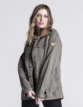 JAQUETA FEMININA MILITAR PATCHES