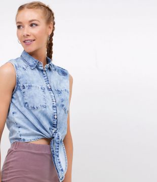 Camisa Jeans Cropped Marmorizada