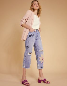Calca Jeans Pantacourt Flores - Shoulder
