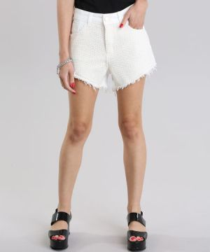 Short Diamond com Renda Off White