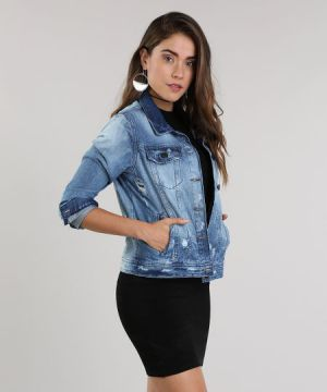 Jaqueta Jeans  The Tiger   Destroyed Azul Escuro