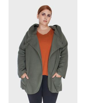 Overcoat Soft Plus Size - Cinza-46/48