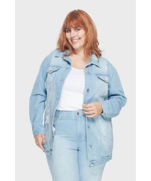 Jaqueta Oversized Delavê Upcycle Plus Size