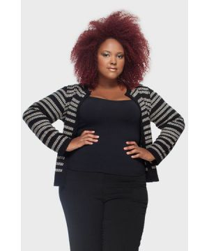 Casaco Tricot Spencer Plus Size
