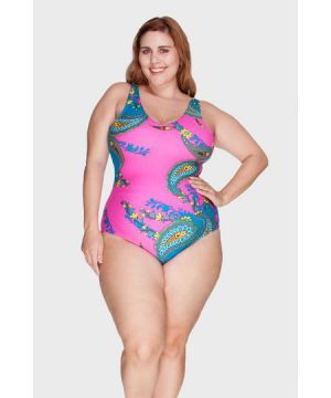 Maiô Decote V Estampado Plus Size