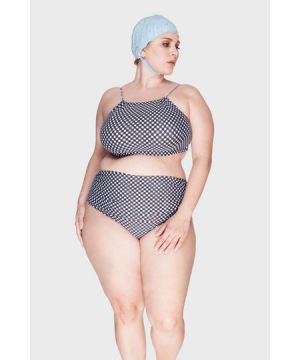 Parte de Baixo Hot Pants Xadrez Vichy Plus Size