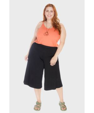 Calça Pantacourt Cós Largo Plus Size
