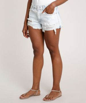 Short Jeans Feminino Cintura Alta Lateral Curta Destroyed A