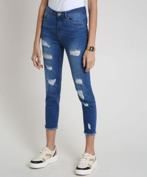 Calça Jeans Feminina Cropped Cintura Alta Destroyed com Bar
