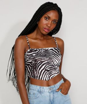 Top Cropped Lenço Feminino Estampado Animal Print Zebra Alç