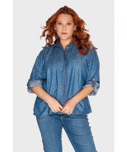 Camisa Jeans Tule Patch Plus Size