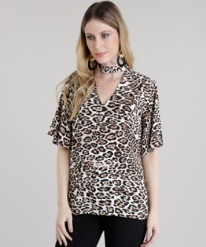 Blusa Choker Estampada Animal Print Bege