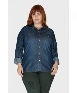 Camisa Jeans Raw Plus Size