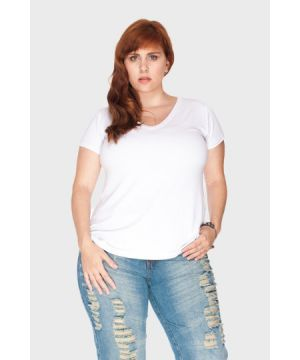 Camiseta Decote V Plus Size