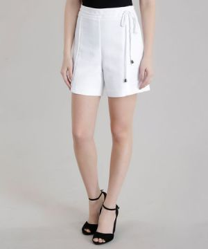 Short Hot Pant em Piquet Off White