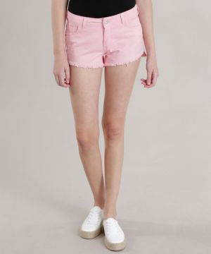 Short Relaxed Destroyed Rosa Claro