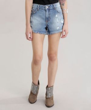 Short Jeans Relaxed Destroyed Azul Médio