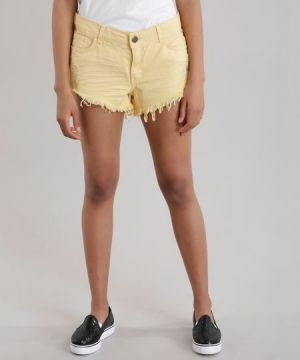 Short Relaxed Destroyed Amarelo