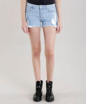 Short Jeans Reto Destroyed Azul Claro