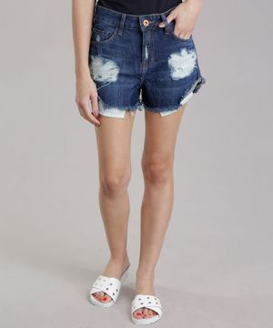 Short Jeans Relaxed Destroyed Azul Escuro