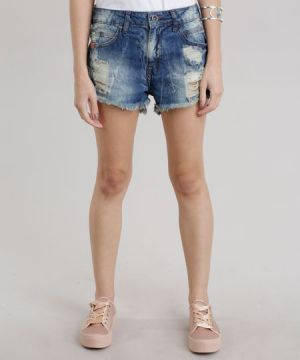 Short Jeans Relax Destroyed Azul Escuro