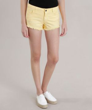 Short Relaxed Destroyed Amarelo Claro