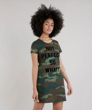 Vestido Estampado Camuflado  Not perfect so what  Verde Mil