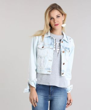 Jaqueta Jeans Cropped Destroyed Azul Claro