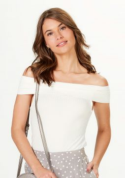 Blusa Ombro A Ombro Em Malha Canelada - Off White - Hering