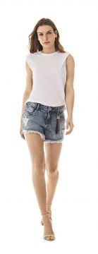 Short Five Pockets Com Chaveiro Jeans - Morena Rosa