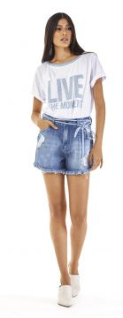 Short Five Pockets Cordao Jeans Jeans - Morena Rosa