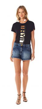 Short Five Pockets Com Silk Jeans - Morena Rosa