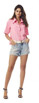 Short Five Pockets Com Cinto Jeans - Morena Rosa