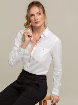 Camisa Oxford Feminina Branca Nancy